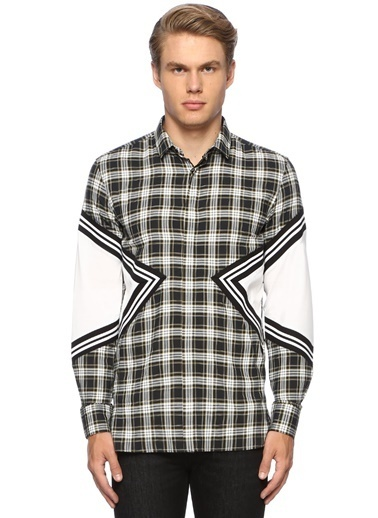 Neil Barrett Neil Barrett Slim Fit  Küçük Yaka Ekoseli Garnili Gömlek 101438104 Siyah